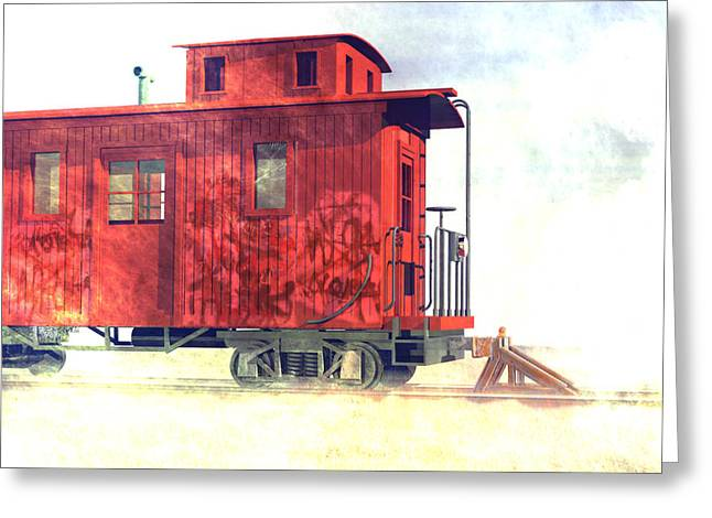 Old Caboose Greeting Cards - End of the line Greeting Card by Carol and Mike Werner