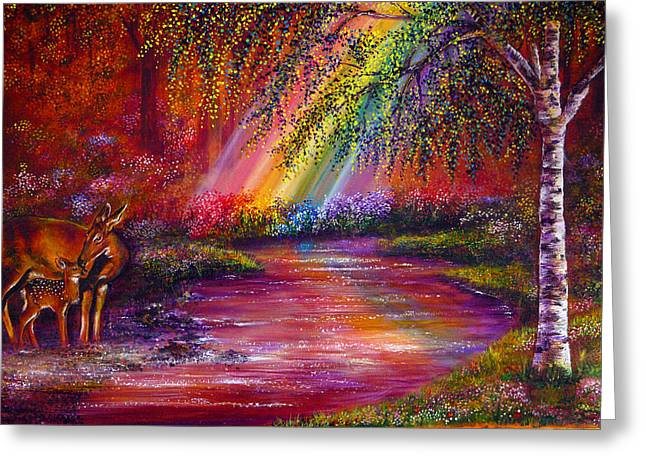 Kinkade Greeting Cards - End of the rainbow Greeting Card by Ann Marie Bone