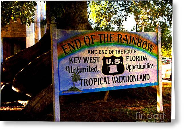 Vacationland Greeting Cards - End Of The Rainbow in Key West Greeting Card by Susanne Van Hulst