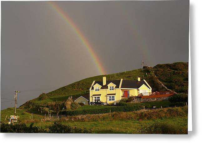 Double Rainbow Digital Art Greeting Cards - End of the Rainbow Greeting Card by Mike McGlothlen