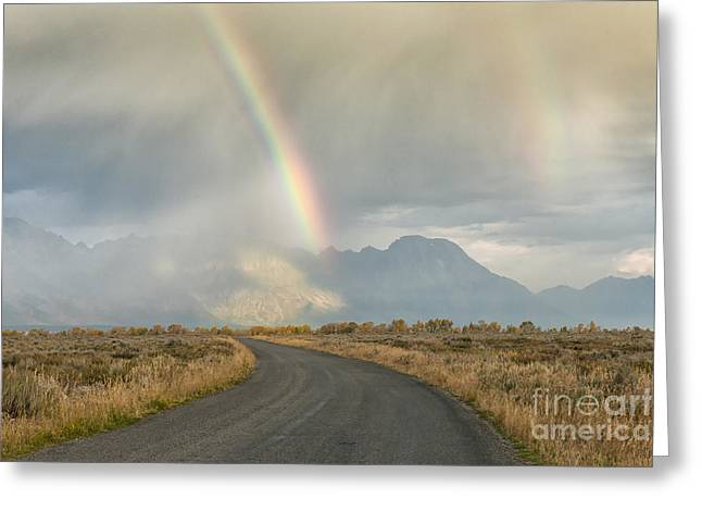 Mountain Road Greeting Cards - End of the Rainbow Greeting Card by Sandra Bronstein