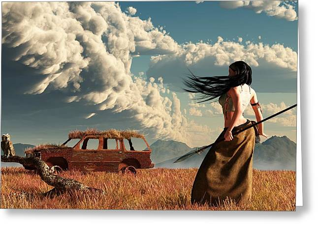 Huntress Greeting Cards - End of the Road Greeting Card by Daniel Eskridge