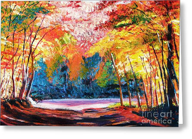 Autumn Landscape Paintings Greeting Cards - End of the Road Greeting Card by David Lloyd Glover