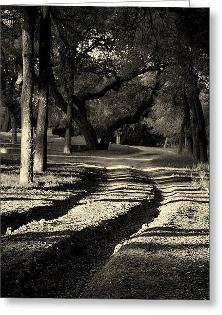 Black White Photography Prints Greeting Cards - End of the Road Greeting Card by Karen Musick