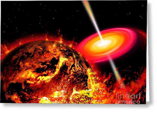 Disk Greeting Cards - End Of The World The Earth Destroyed Greeting Card by Ron Miller