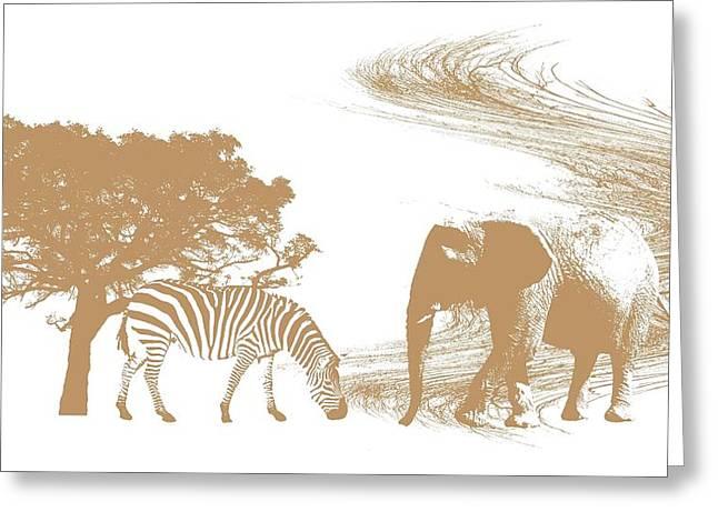 Zebra Canvas Art Prints Greeting Cards - Endangered Greeting Card by Sharon Lisa Clarke