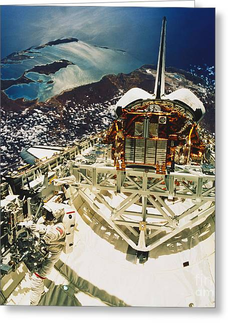 Space Shuttle Photographs Greeting Cards - Endeavour Spacewalk Greeting Card by Science Source