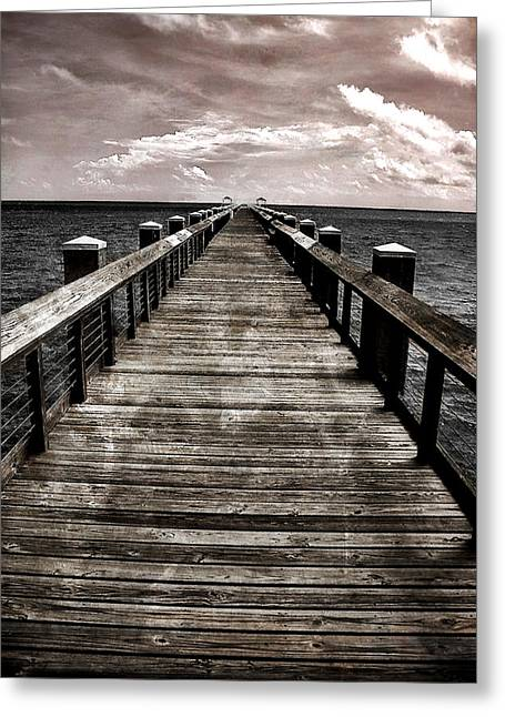 Mississippi Gulf Coast Greeting Cards - Endless Pier Greeting Card by Gulf Island Photography and Images