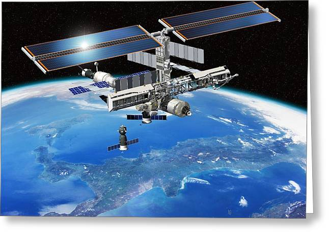 Iss Greeting Cards - Eneide Mission To The Iss, Artwork Greeting Card by David Ducros