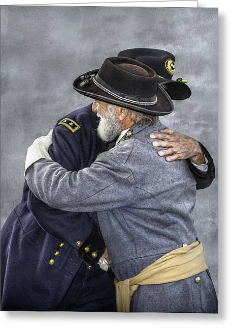 Confederate Digital Art Greeting Cards - Enemies no Longer Civil War Grant and Lee Greeting Card by Randy Steele