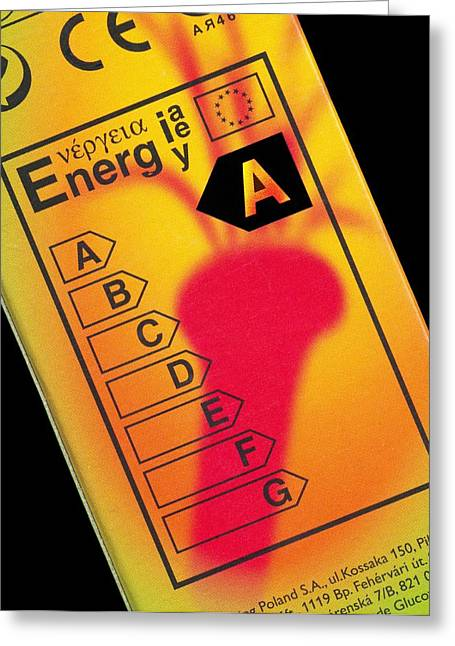 Energy Efficiency Greeting Cards - Energy Efficiency Rating Label Greeting Card by Sheila Terry