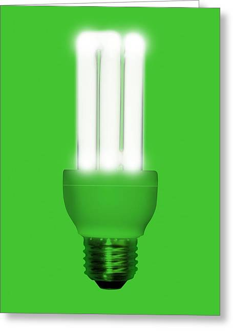 Energy Efficient Greeting Cards - Energy-saving Light Bulb, Artwork Greeting Card by Victor Habbick Visions