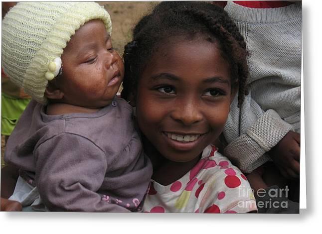 ENFANTS A MADAGASCAR Greeting Card by FRANCOISE LEANDRE