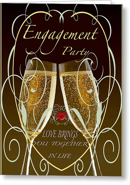 Toast Mixed Media Greeting Cards - Engagement Party Card Greeting Card by Debra     Vatalaro