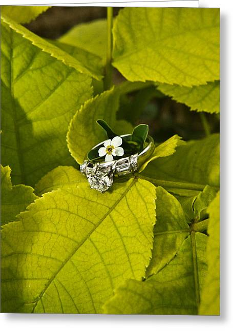 Engagement Ring Greeting Cards - Engagement Ring and Flower 1 Greeting Card by Douglas Barnett