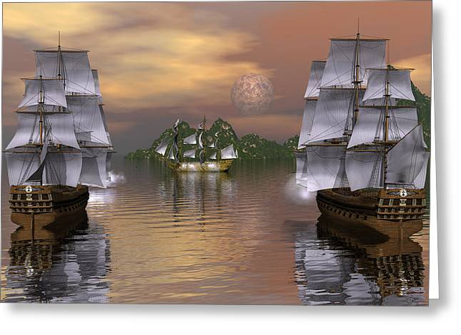 Engaging The Manowar Greeting Card by Claude McCoy