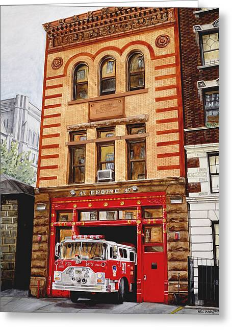 Engine Paintings Greeting Cards - Engine Company 47 Greeting Card by Paul Walsh