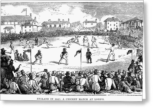 1842 Photographs Greeting Cards - England: Cricket, 1842 Greeting Card by Granger