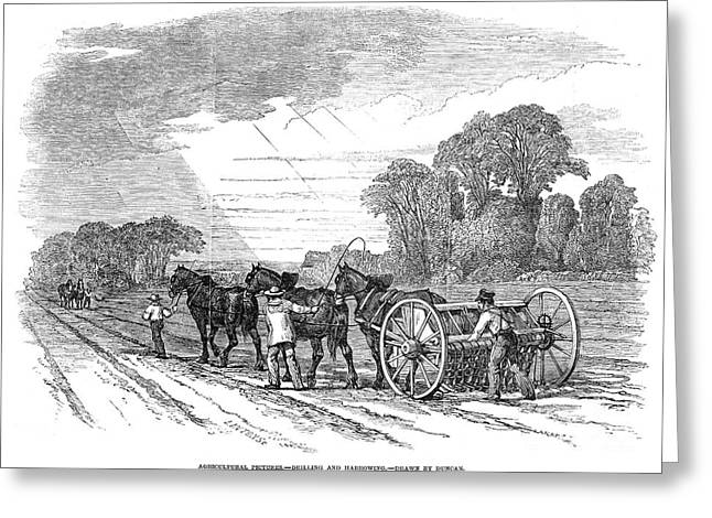 Harrow Greeting Cards - England: Farming, 1846 Greeting Card by Granger