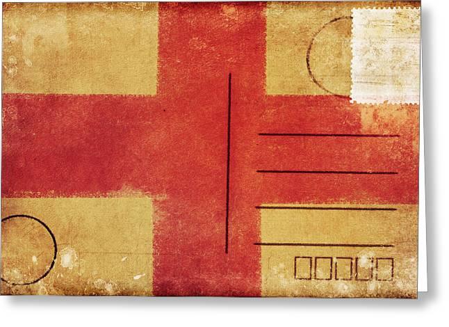 Rag Paper Greeting Cards - England Flag Postcard Greeting Card by Setsiri Silapasuwanchai