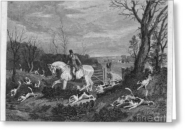1833 Greeting Cards - England: Fox Hunt, 1833 Greeting Card by Granger
