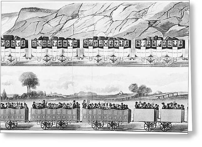 1833 Greeting Cards - England: Railroad Travel Greeting Card by Granger