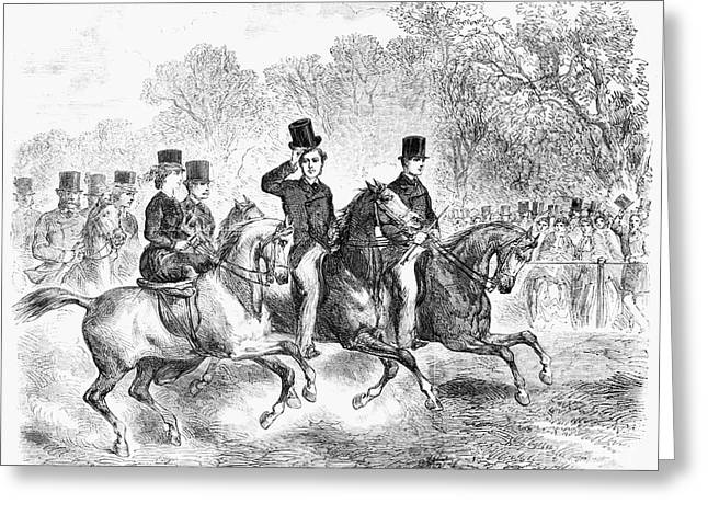 Running Princess Greeting Cards - England: Rotten Row, 1863 Greeting Card by Granger