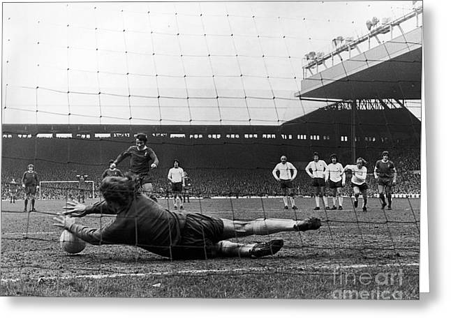 Goalpost Greeting Cards - England: Soccer Game, 1973 Greeting Card by Granger