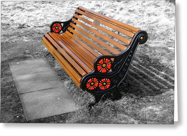 English Bench Greeting Card by Roberto Alamino