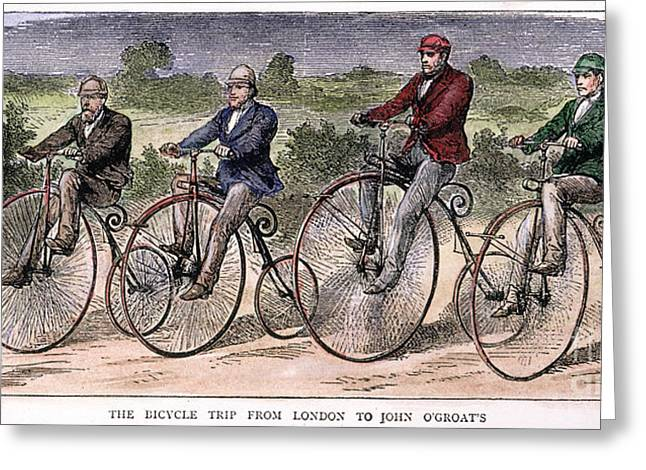 Groat Greeting Cards - English Bicyclists, 1873 Greeting Card by Granger
