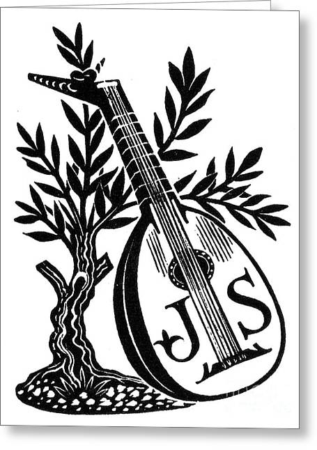 English Bookplate Greeting Card by Granger