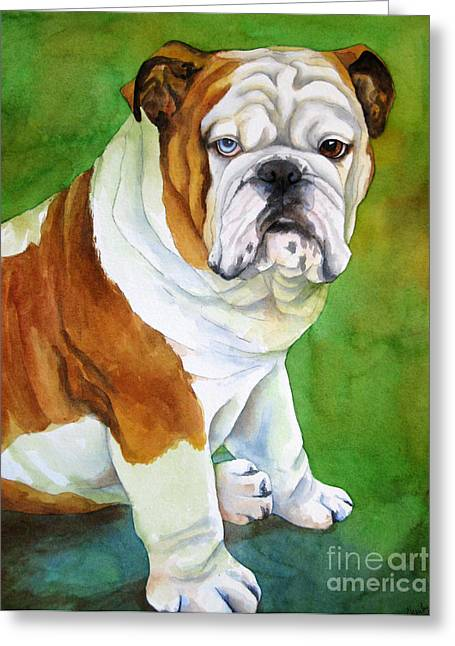 Pet Gifts Greeting Cards - English Bull Dog Greeting Card by Cherilynn Wood