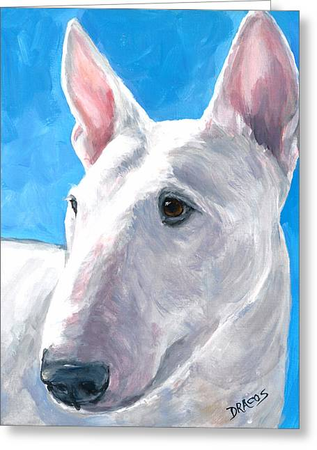 English Bull Terrier Greeting Cards - English Bull Terrier on Blue Greeting Card by Dottie Dracos