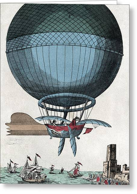 Pioneer Illustration Greeting Cards - English Channel Balloon Crossing, 1785 Greeting Card by Library Of Congress