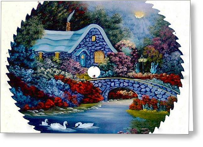 Saw Greeting Cards - English Cottage with Swans Greeting Card by Darlene Prowell