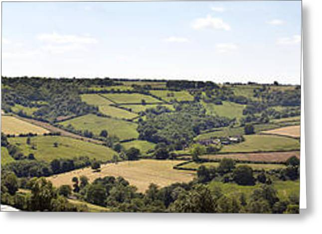 Agricultural Greeting Cards - English countryside panorama Greeting Card by Jane Rix