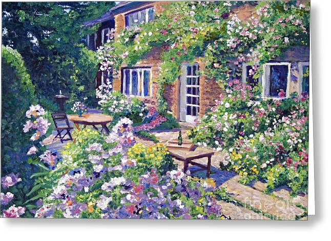 Bistro Paintings Greeting Cards - English Courtyard Greeting Card by David Lloyd Glover