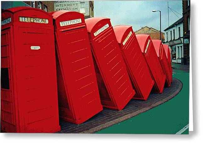 Kingston Greeting Cards - English Domino Effect Greeting Card by Sarah Loft
