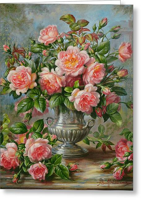 Flower Still Life Greeting Cards - English Elegance Roses in a Silver Vase Greeting Card by Albert Williams