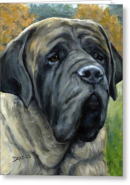 Bully Greeting Cards - English Mastiff Black Face Greeting Card by Dottie Dracos