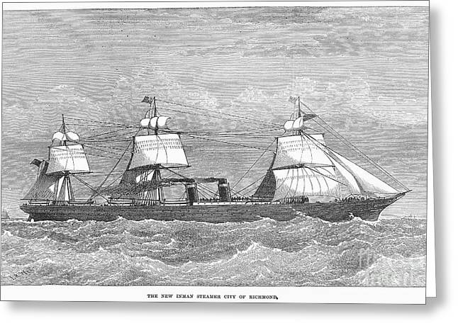 1874 Greeting Cards - English Steamship, 1874 Greeting Card by Granger