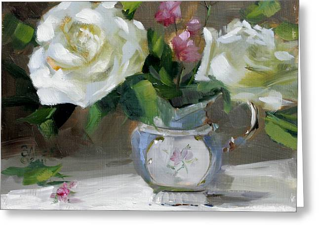Still Life With Watermelon. Greeting Cards - English Tea Rose Greeting Card by Chris  Saper