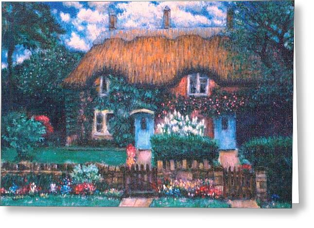 Thatch Drawings Greeting Cards - English Thatched Roof Cottage Greeting Card by    Armand  Storace
