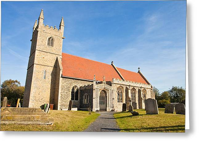 Autumn Graveyard Greeting Cards - English village church Greeting Card by Tom Gowanlock
