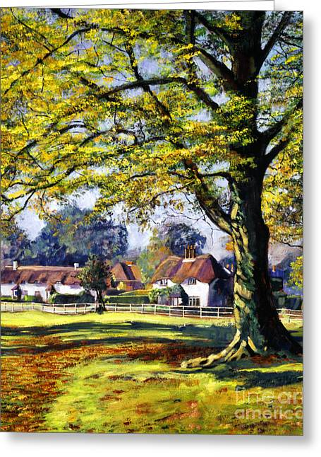 Rural Scenery Greeting Cards - English Village Greeting Card by David Lloyd Glover