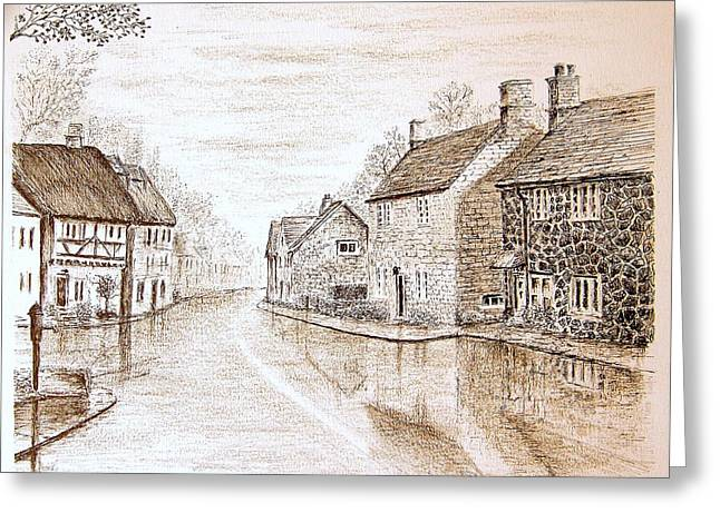 Small Towns Drawings Greeting Cards - English Village  Greeting Card by Terence John Cleary