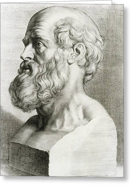 Hippocrates Greeting Cards - Engraving Of Bust Of Hippocrates Greeting Card by National Library Of Medicine