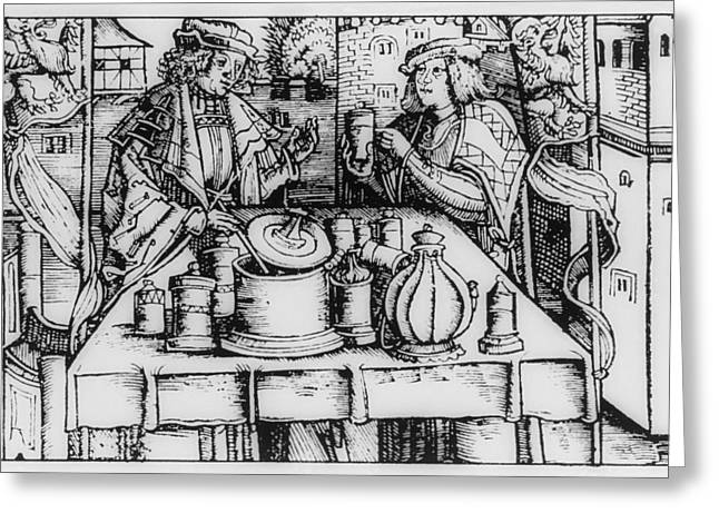 Historical Images Greeting Cards - Engraving Of Mediaeval Preparation Of theriac Greeting Card by