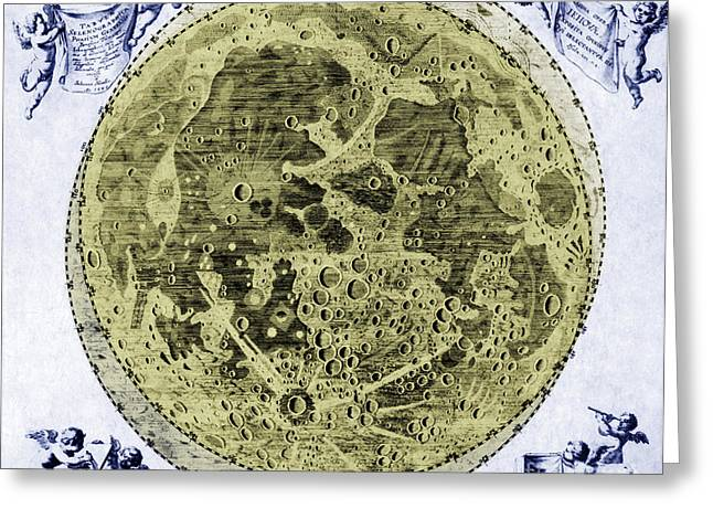 Color Enhanced Greeting Cards - Engraving Of Moon, 1645 Greeting Card by Science Source