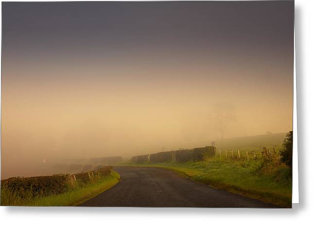 Road Travel Greeting Cards - Enigmatic. Misty Roads of Scotland Greeting Card by Jenny Rainbow